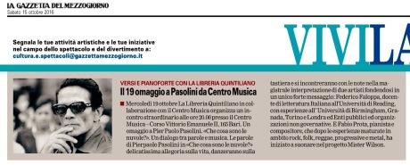 """""""La Gazzetta del Mezzogiorno"""" Bari, 15-10-2016"""